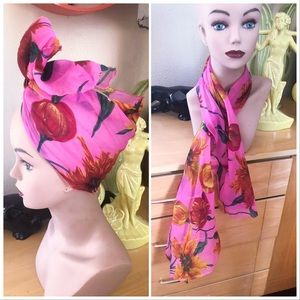 Vintage 1960s Scarf Floral Rectangle Turban 1940s